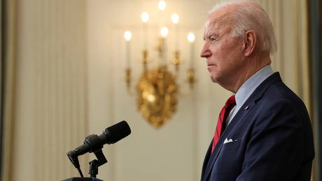 US President Joe Biden speaks about the mass shooting in Colorado from the State Dining Room at the White House in Washington, DC on March 23, 2021.