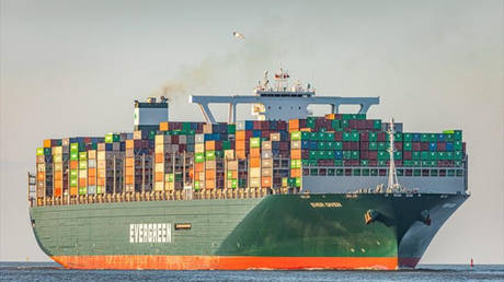 FILE PHOTO: The Ever Given container ship is seen in waters near Cuxhaven, Germany, March 3, 2020.