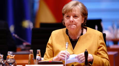 German Chancellor Angela Merkel attends the weekly cabinet meeting at the Chancellery in Berlin, Germany, March 24, 2021.