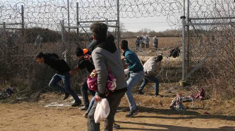 Migrants on the Turkish-Greek border near Edirne, Turkey, March 2, 2020