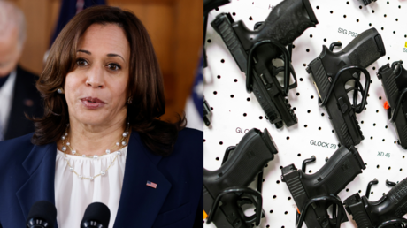 Kamala Harris, seen alongside a display rack in a New Jersey gun store © Reuters / Eduardo Munoz and Carlos Barria
