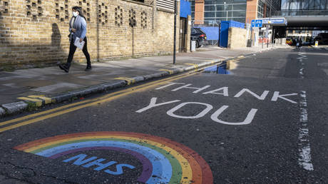 FILE PHOTO: As the national coronavirus lockdown three continues an NHS rainbow thank you message for all the staff at the Royal London Hospital in Whitechapel on 29th January 2021 in London, United Kingdom