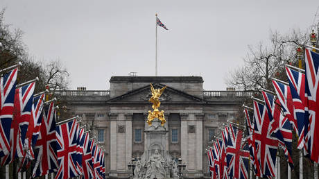British union flags are seen along The Mall, with Buckingham Palace behind, London, Britain, January 30, 2020.