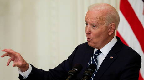 US President Joe Biden at his first formal news conference as president in the East Room of the White House, March 25, 2021.