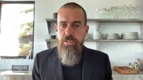 "Twitter CEO Jack Dorsey takes part in a House Energy and Commerce Committee  hearing on ""Social Media's Role in Promoting Extremism and Misinformation,"" March 25, 2021."