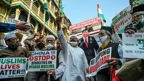 FILE PHOTO. Muslims hold placards as they protest against the Chinese government's policies on Muslim Uighur minorities, in Mumbai on November 12, 2020. © AFP / Punit PARANJPE