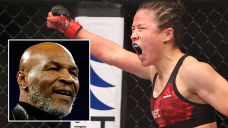 UFC star Weili Zhang (right) has held forth on boxing icon Mike Tyson © Steve Marcus / Reuters   © Jerry Lai / USA Today Sports via Reuters