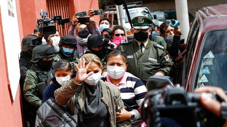 FILE PHOTO: Bolivia's former interim President Jeanine Anez arrives to a women's jail, in La Paz, Bolivia, on March 15, 2021.
