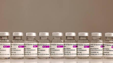 FILE PHOTO: Vials of AstraZeneca vaccine against the coronavirus disease (COVID-19) are pictured in Huelva, Spain March 24, 2021.