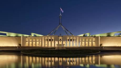 Blue hour photo of Parliament House, Canberra Australia.