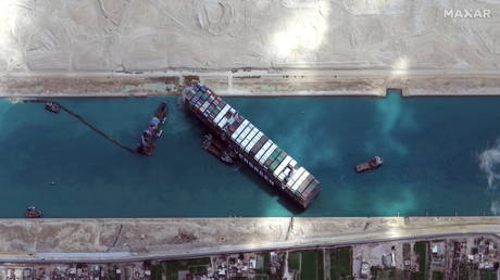 A view shows Ever Given container ship in Suez Canal in this Maxar Technologies satellite image (FILE PHOTO) © Maxar Technologies/Handout via REUTERS