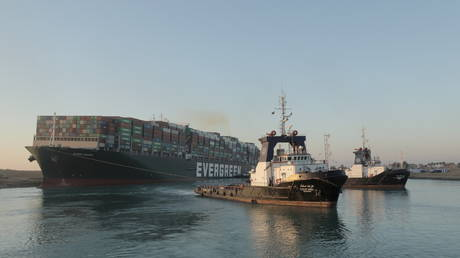 The container ship Ever Given after it was partially refloated, in Suez Canal, Egypt March 29, 2021