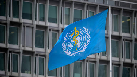 The flag of the World Health Organization (WHO) pictured at their headquarters in Geneva.