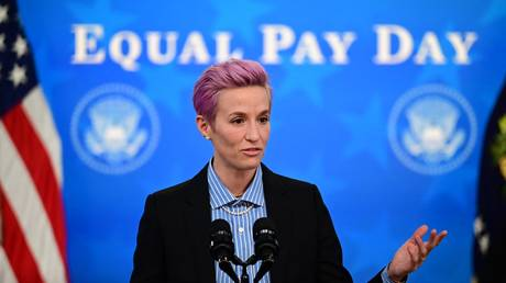 US soccer player Megan Rapinoe speaks during an Equal Pay Day event in the South Court Auditorium of the White House in Washington, DC on March 24, 2021.