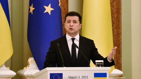 President of Ukraine Volodymyr Zelensky during a meeting with President of the European Union Charles Michel in Kiev.
