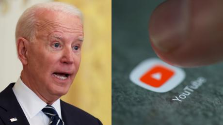 Joe Biden, seen alongside YouTube's logo on a smartphone screen © Reuters / Leah Millis and Dado Ruvic