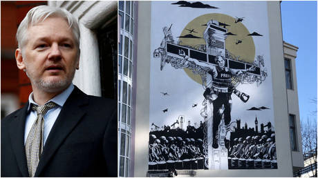 (L) WikiLeaks founder Julian Assange makes a speech from the balcony of the Ecuadorian Embassy in London, Britain February 5, 2016; (R) A mural created by street artists to depict Assange's persecution is seen in Berlin, Germany.
