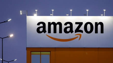 FILE PHOTO: The logo of Amazon is seen at the company logistics center in Lauwin-Planque, northern France, February 20, 2017.