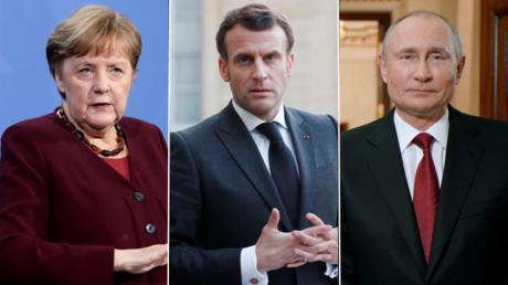 (L) Angela Merkel © Reuters / Michael Sohn; (C) Emmanuel Macron ©️ Reuters / JBENOIT TESSIER; (R) Vladimir Putin ©️ Sputnik / ALEXEI DRUZHININ
