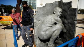 Taking the p**s: Statue of Netanyahu relieving himself appears in Tel Aviv as Israelis head to polls (PHOTOS)