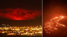 WATCH: Volleyball players start 'casual game' in front of erupting volcano in Iceland