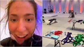 'Don't ever celebrate too soon': American TV presenter suffers cruel basketball embarrassment in viral VIDEO