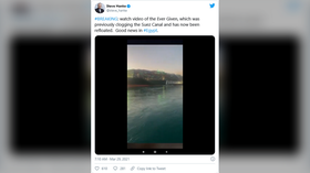 Giant container ship stuck in Suez Canal FREED after blocking vital waterway for nearly a week (VIDEO)