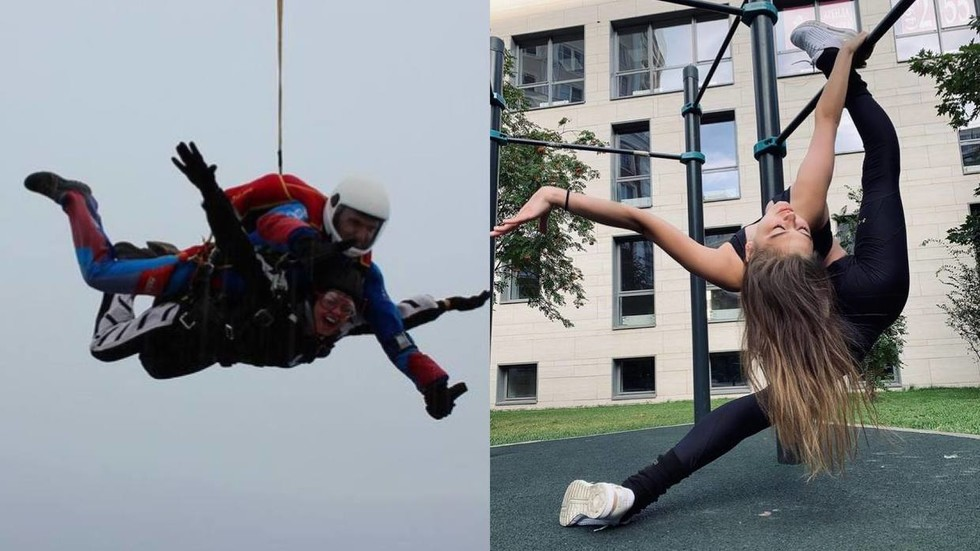 Russian Gymnastics queen Aleksandra Soldatova thrills with parachute jump