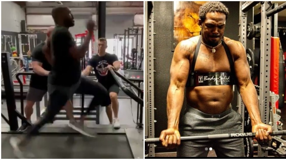 Beefed-up Jon Jones pounds treadmill at 20mph as UFC star warns Ngannou