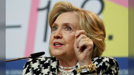 """Hillary Clinton is shown at a press conference last year in Berlin promoting the movie """"Hillary."""""""