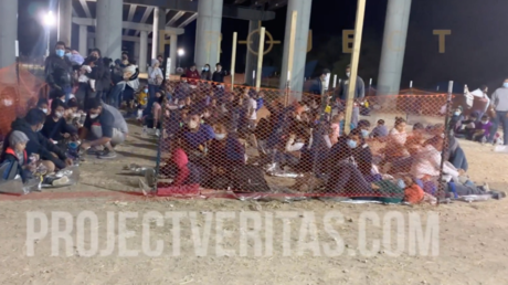 A screenshot shows what Project Veritas alleges to be migrants being held under a bridge by US Border Patrol agents.