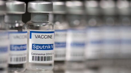 "FILE PHOTO. Vials labelled ""Sputnik V Coronavirus COVID-19 Vaccine"" are seen in this illustration photo taken March 12, 2021. © Reuters / Dado Ruvic"