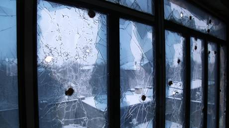 A window broken by a recent shelling is pictured in the village of Vesyoloye (Vesele) in the Donetsk Region, self-proclaimed Donetsk People's Republic, Eastern Ukraine. © Sputnik
