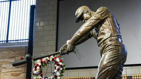 The MLB All-Star game was supposed to be a tribute to Hank Aaron, a legendary Atlanta Braves player (Jan 22, 2021 file photo of memorial at Truist Park)