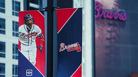 FILE PHOTO: The logo of the Major League Baseball (MLB) team Atlanta Braves is seen near Truist Park in Atlanta, Georgia.