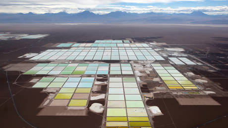 The brine pools and processing areas of the Soquimich lithium mine on the Atacama salt flat in the Atacama desert of northern Chile