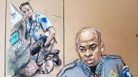 A courtroom sketch shows Minneapolis Police Chief Medaria Arradondo as he testifies on the sixth day of Derek Chauvin's murder trial, in Minneapolis, Minnesota, April 5, 2021.
