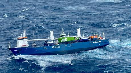 Dutch cargo ship Eemslift Hendrika in Norwegian Sea about 60 nautical miles west of Alesund, April 5, 2021