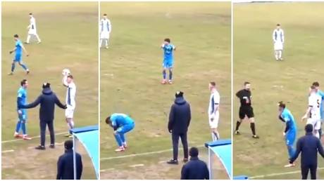 The scenes played out in the Russian lower leagues. © Instagram @2liga__