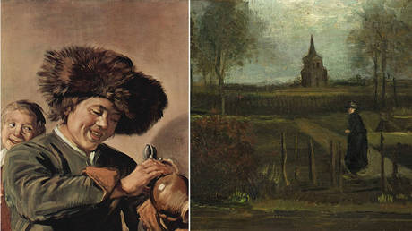 (L) Frans Hals 'Two laughing boys with mug of beer' (1626); (R) Vincent van Gogh 'The Parsonage Garden at Nuenen' (1884)