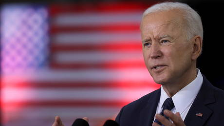 FILE PHOTO: US President Joe Biden at Carpenters Pittsburgh Training Center in Pittsburgh, Pennsylvania, US, March 31, 2021