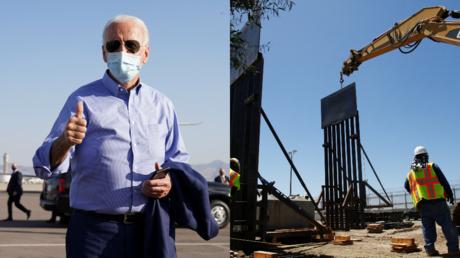 Joe Biden, seen alongside a section of border wall under construction in 2018 near Tijuana, Mexico © Reuters / Kevin Lamarque and Jorge Duenas