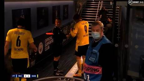 The cheeky official was spotted getting Haaland to sign his yellow card. © Twitter BTSport