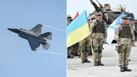 (L) F-35 © Getty Images / NNehring; (R) Servicemen of the Ukrainian army at the opening of an international military exercise under the auspices of NATO. © Sputnik / Denis Aslanov