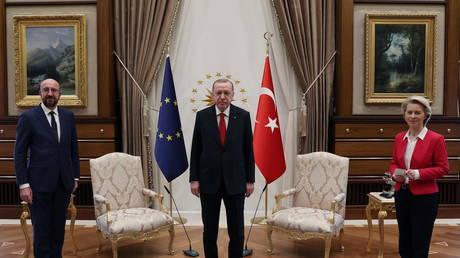 Turkish President Tayyip Erdogan meets with European Council President Charles Michel and European Commission President Ursula von der Leyen in Ankara, Turkey (FILE PHOTO) ©  Presidential Press Office/Handout via REUTERS