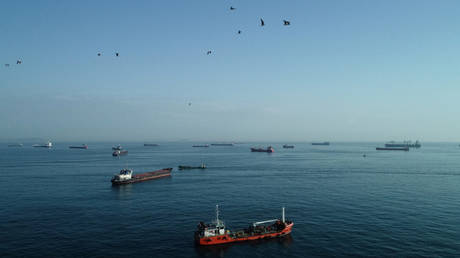 An aerial view shows commercial vessels waiting to pass Bosphorus strait in Istanbul, Turkey on March 30, 2020.