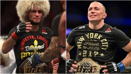 UFC stars Khabib Nurmagomedov and Georges St-Pierre. © Getty Images / Zuffa LLC