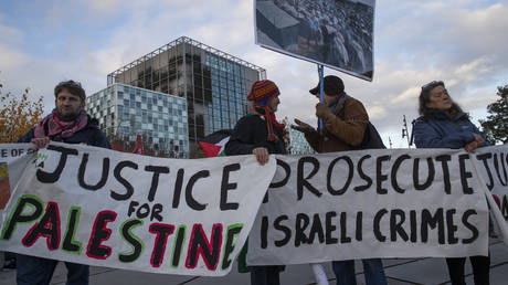Protesters at the International Criminal Court demanding prosecution of Israel's army, The Hague, Netherlands, Friday, Nov. 29, 2019