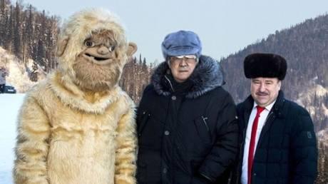 Kemerovo Region governor, Aman Tuleyev (C) and Tashtagol district head, Vladimir Makuta, pose with a man dressed in a Yeti costume. © Instagram / tuleev_a.g