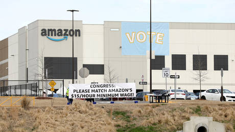 FILE PHOTO: Amazon's Bessemer, Alabama warehouse, where workers have cast ballots on whether to make the facility a union shop.
